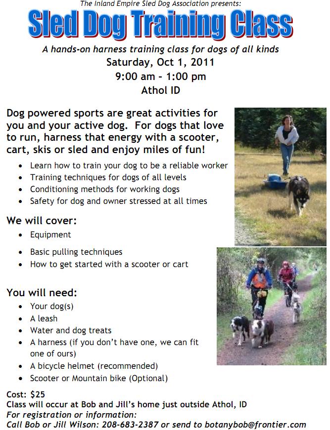 2011 Sled Dog Training Class! – North Idaho Dog Fun